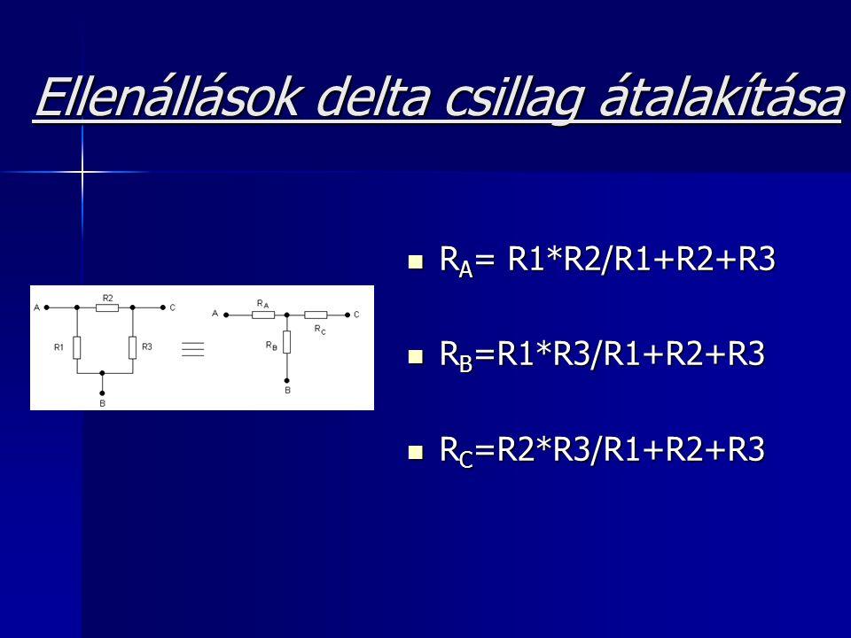 Ellenállások delta csillag átalakítása R A = R1*R2/R1+R2+R3 R A = R1*R2/R1+R2+R3 R B =R1*R3/R1+R2+R3 R B =R1*R3/R1+R2+R3 R C =R2*R3/R1+R2+R3 R C =R2*R