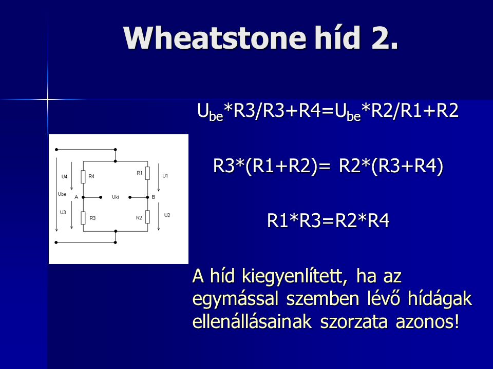 Wheatstone híd 2. U be *R3/R3+R4=U be *R2/R1+R2 R3*(R1+R2)= R2*(R3+R4) R1*R3=R2*R4 A híd kiegyenlített, ha az egymással szemben lévő hídágak ellenállá