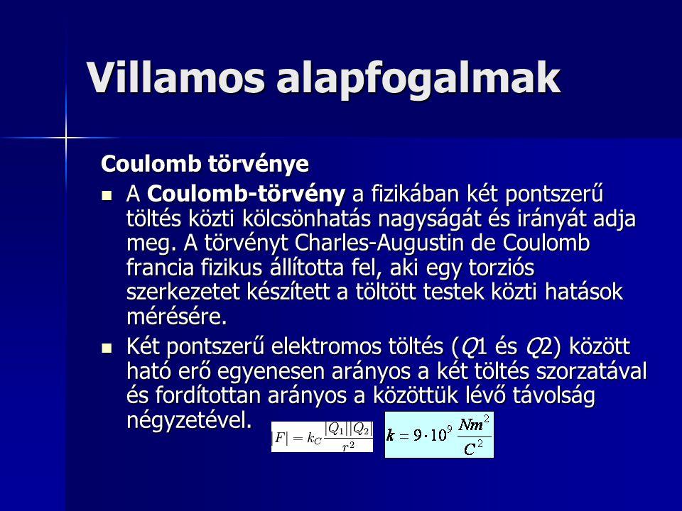 Villamos alapfogalmak Coulomb törvénye A Coulomb-törvény a fizikában két pontszerű töltés közti kölcsönhatás nagyságát és irányát adja meg. A törvényt