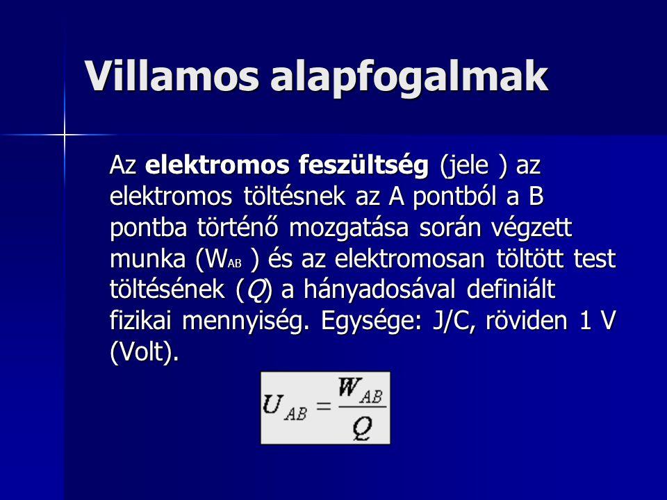 Villamos alapfogalmak Az elektromos feszültség (jele ) az elektromos töltésnek az A pontból a B pontba történő mozgatása során végzett munka (W AB ) é