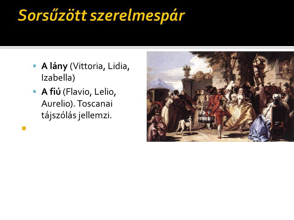  A lány (Vittoria, Lidia, Izabella)  A fiú (Flavio, Lelio, Aurelio). Toscanai tájszólás jellemzi. 