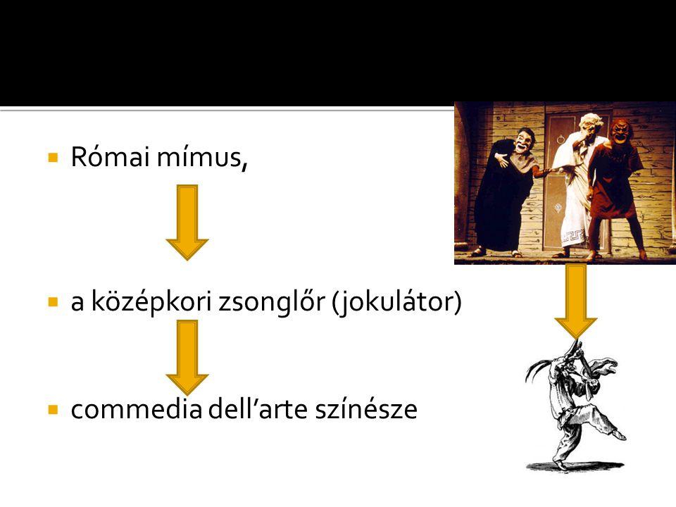  Római mímus,  a középkori zsonglőr (jokulátor)  commedia dell'arte színésze
