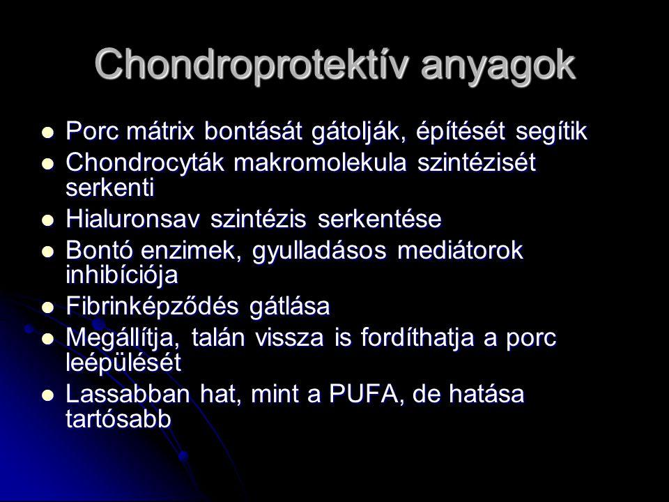 Chondroprotektív anyagok Porc mátrix bontását gátolják, építését segítik Porc mátrix bontását gátolják, építését segítik Chondrocyták makromolekula szintézisét serkenti Chondrocyták makromolekula szintézisét serkenti Hialuronsav szintézis serkentése Hialuronsav szintézis serkentése Bontó enzimek, gyulladásos mediátorok inhibíciója Bontó enzimek, gyulladásos mediátorok inhibíciója Fibrinképződés gátlása Fibrinképződés gátlása Megállítja, talán vissza is fordíthatja a porc leépülését Megállítja, talán vissza is fordíthatja a porc leépülését Lassabban hat, mint a PUFA, de hatása tartósabb Lassabban hat, mint a PUFA, de hatása tartósabb