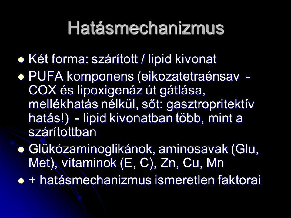Hatásmechanizmus Két forma: szárított / lipid kivonat Két forma: szárított / lipid kivonat PUFA komponens (eikozatetraénsav - COX és lipoxigenáz út gá
