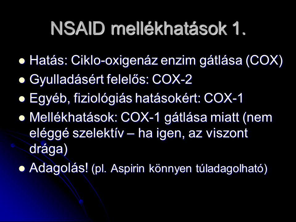 NSAID mellékhatások 1. Hatás: Ciklo-oxigenáz enzim gátlása (COX) Hatás: Ciklo-oxigenáz enzim gátlása (COX) Gyulladásért felelős: COX-2 Gyulladásért fe