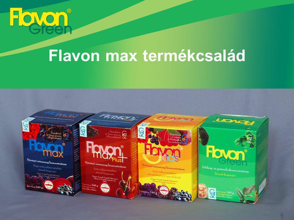 Flavon max termékcsalád (Flavon max, Flavon kids, Flavon max Plus+) Válogatott, egészséges alapanyagok – az összetevők szinergista hatással rendelkeznek Hatóanyag és vitaminkímélő, speciális előállítási technológia Valóban egészséges termék, tartósítószer nélkül