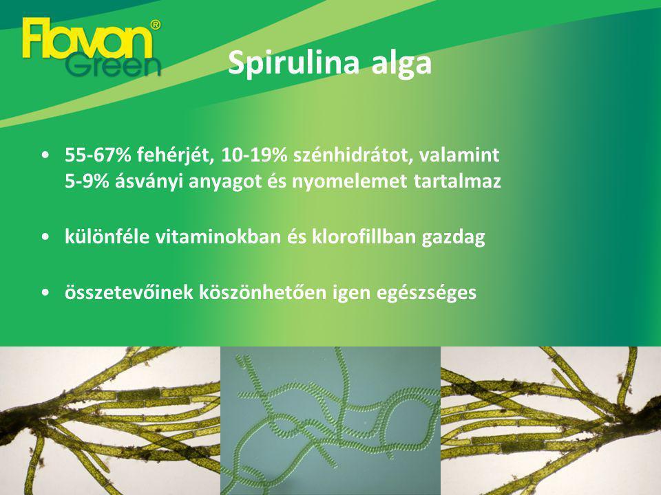 Spirulina alga 55-67% fehérjét, 10-19% szénhidrátot, valamint 5-9% ásványi anyagot és nyomelemet tartalmaz különféle vitaminokban és klorofillban gazdag összetevőinek köszönhetően igen egészséges