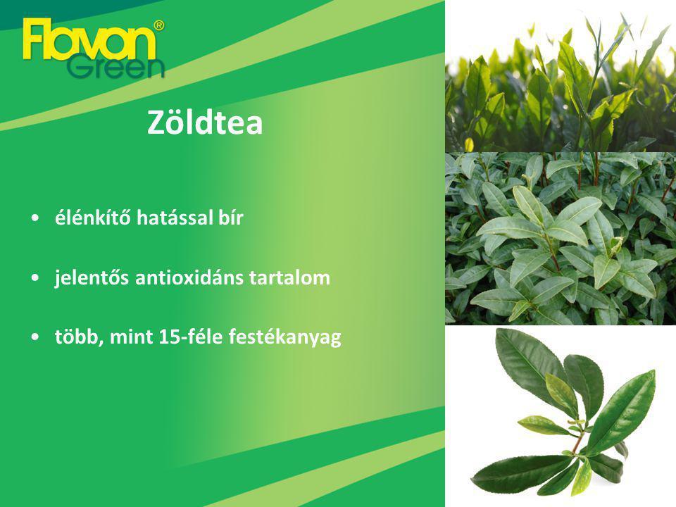 Zöldtea élénkítő hatással bír jelentős antioxidáns tartalom több, mint 15-féle festékanyag
