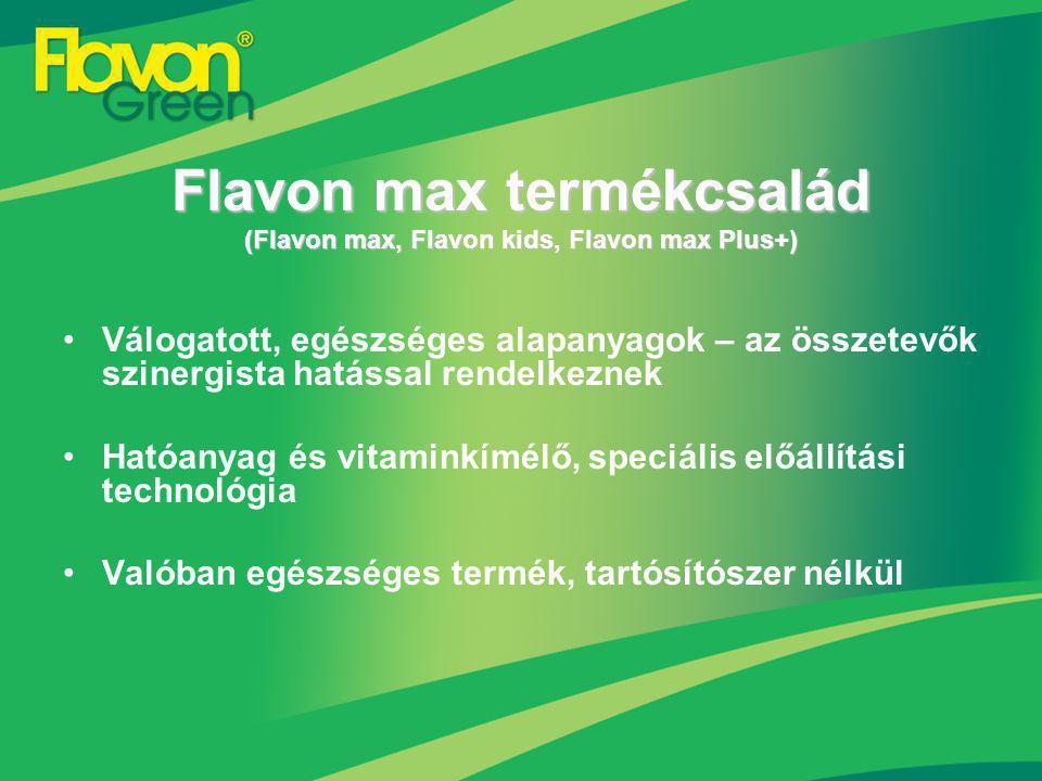 Tudományosan megalapozott tények és ismeretek + pontosan meghatározott, állandó receptúra Kiválóan illeszkedik a funkcionális élelmiszerek sorába Gluténmentesség, melyet az SGS igazolt Flavon max termékcsalád (Flavon max, Flavon kids, Flavon max Plus+)
