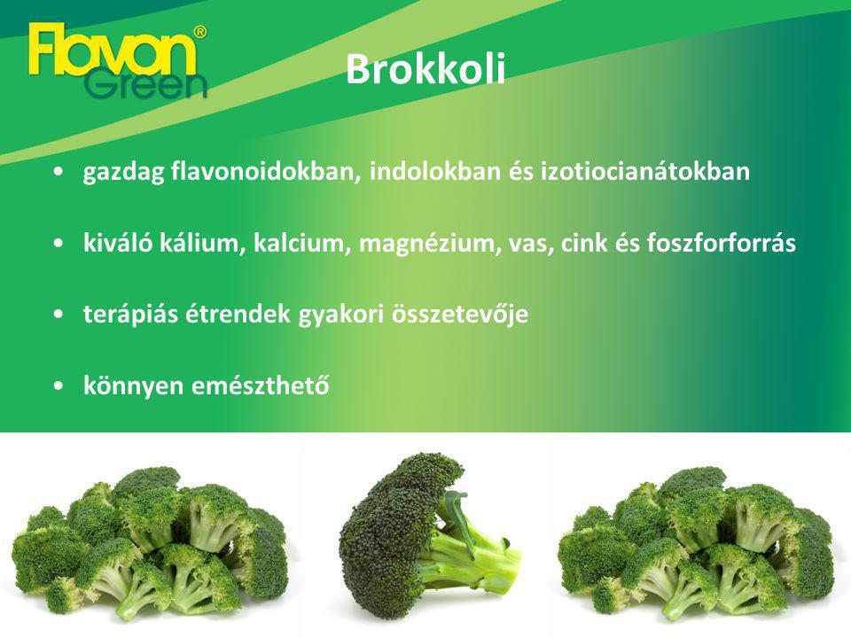 Brokkoli gazdag flavonoidokban, indolokban és izotiocianátokban kiváló kálium, kalcium, magnézium, vas, cink és foszforforrás terápiás étrendek gyakori összetevője könnyen emészthető