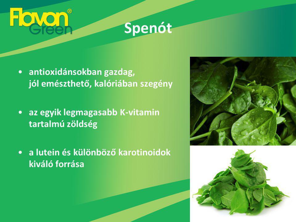 Spenót antioxidánsokban gazdag, jól emészthető, kalóriában szegény az egyik legmagasabb K-vitamin tartalmú zöldség a lutein és különböző karotinoidok kiváló forrása