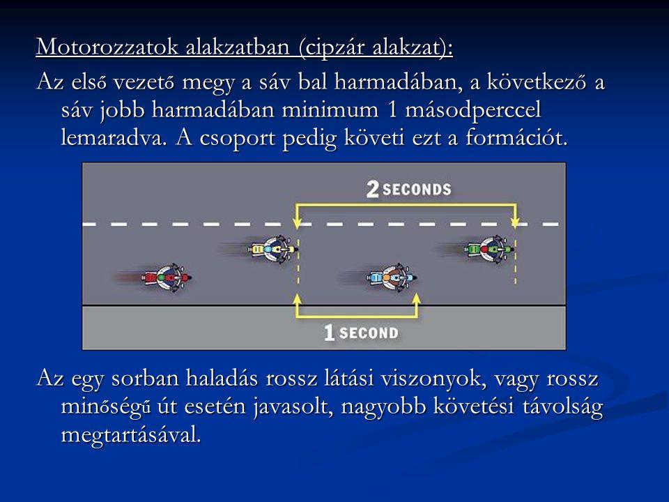 Motorozzatok alakzatban (cipzár alakzat): Az els ő vezet ő megy a sáv bal harmadában, a következ ő a sáv jobb harmadában minimum 1 másodperccel lemara