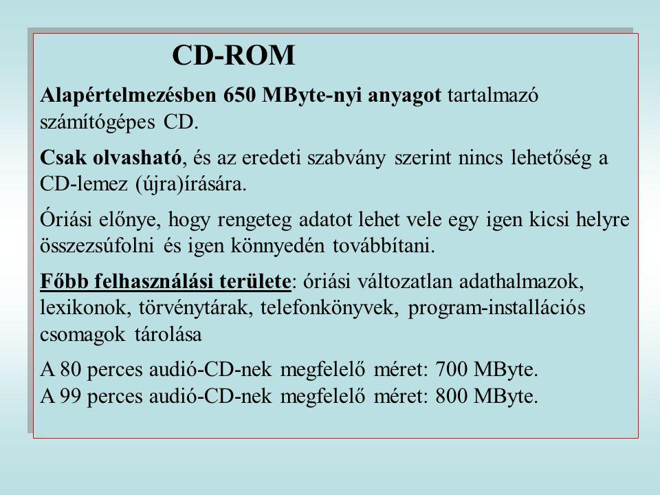 CD-ROM Alapértelmezésben 650 MByte-nyi anyagot tartalmazó számítógépes CD. Csak olvasható, és az eredeti szabvány szerint nincs lehetőség a CD-lemez (