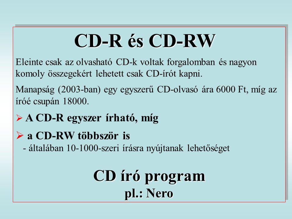 CD-R és CD-RW Eleinte csak az olvasható CD-k voltak forgalomban és nagyon komoly összegekért lehetett csak CD-írót kapni. Manapság (2003-ban) egy egys