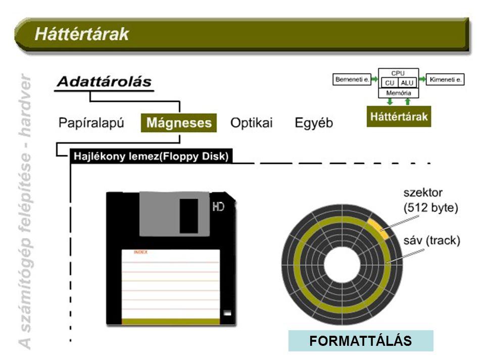 A mágneses háttértárak logikai felépítése: A bitsorozatok a lemez felületén kialakított koncentrikus körök mentén helyezkednek el.