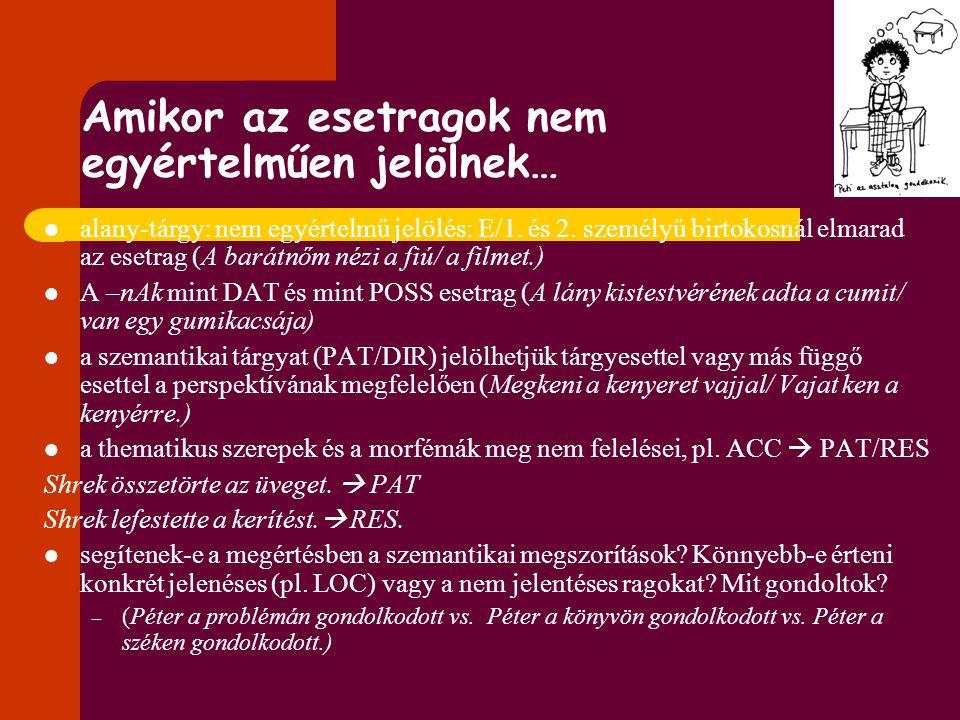 Támpontok a mondatmegértésben Eljárás: mondatlejátszás Függő változók: 1. Főnév a Ki csinálta? kérdésre + latenciaidők Személyek: ovisok felnőtt kontr