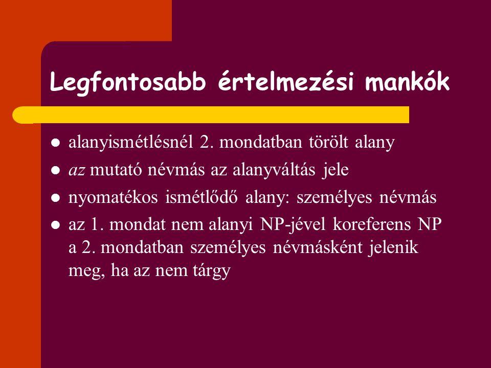 Feladat: Döntsük el, ki az alany a példák első és második mondatában! Hogyan, milyen formában jelenhet meg az alany a 2. mondatban? Milyen szabályossá