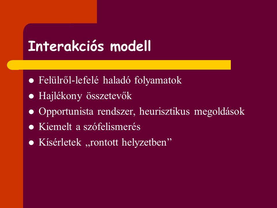 A megértés modelljei 1. Interakciós 2. Moduláris 3. Konnekcionista  Lásd még a kiosztmányon!