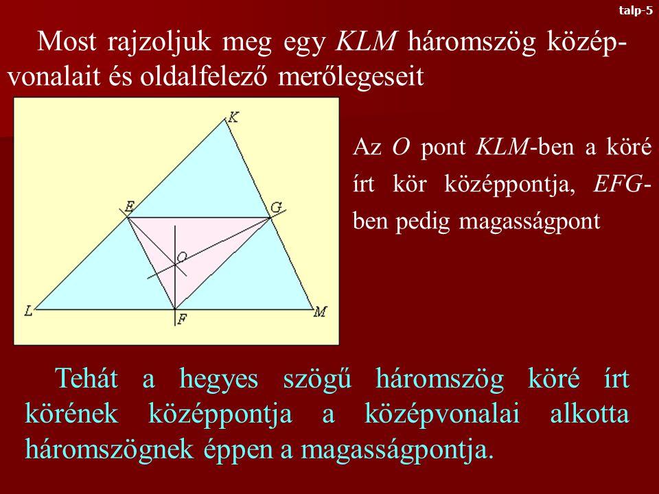 Azt kaptuk, hogy a hegyes szögű háromszög M magasságpontja a TPQ talpponti háromszögének a be- írható körének a középpontja.