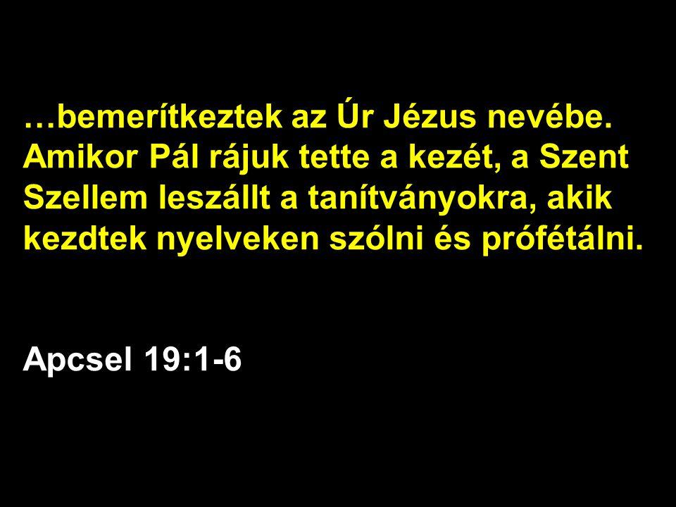 …bemerítkeztek az Úr Jézus nevébe. Amikor Pál rájuk tette a kezét, a Szent Szellem leszállt a tanítványokra, akik kezdtek nyelveken szólni és prófétál