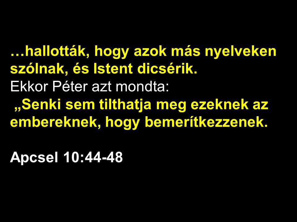 """…hallották, hogy azok más nyelveken szólnak, és Istent dicsérik. Ekkor Péter azt mondta: """"Senki sem tilthatja meg ezeknek az embereknek, hogy bemerítk"""