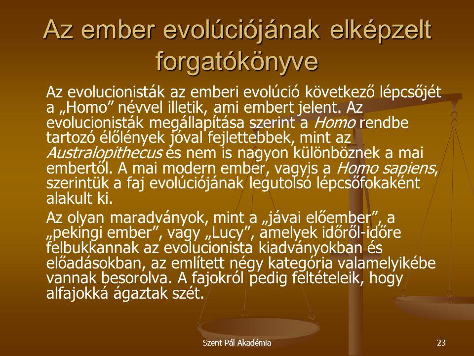 """Szent Pál Akadémia23 Az ember evolúciójának elképzelt forgatókönyve Az evolucionisták az emberi evolúció következő lépcsőjét a """"Homo névvel illetik, ami embert jelent."""