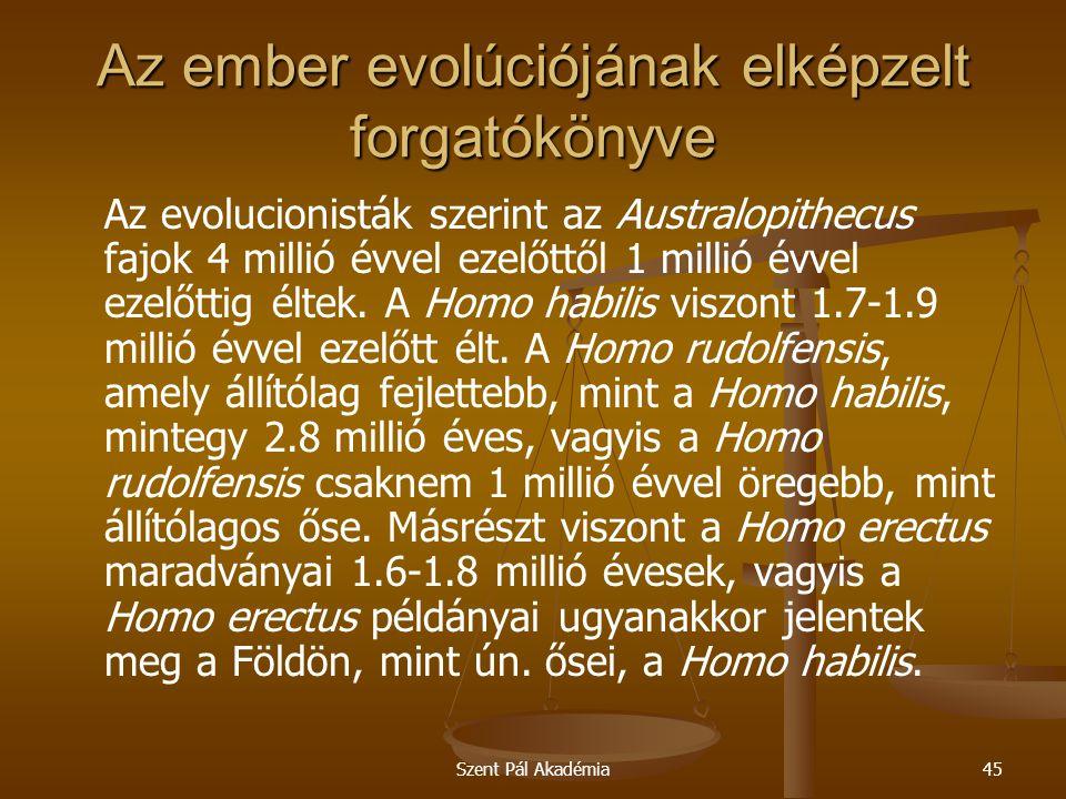 Szent Pál Akadémia45 Az ember evolúciójának elképzelt forgatókönyve Az evolucionisták szerint az Australopithecus fajok 4 millió évvel ezelőttől 1 millió évvel ezelőttig éltek.