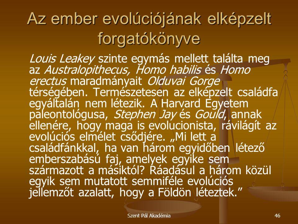 Szent Pál Akadémia46 Az ember evolúciójának elképzelt forgatókönyve Louis Leakey szinte egymás mellett találta meg az Australopithecus, Homo habilis és Homo erectus maradmányait Olduvai Gorge térségében.