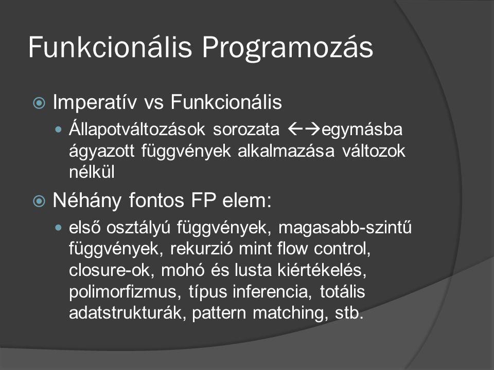 Funkcionális Programozás  Imperatív vs Funkcionális Állapotváltozások sorozata  egymásba ágyazott függvények alkalmazása változok nélkül  Néhány f