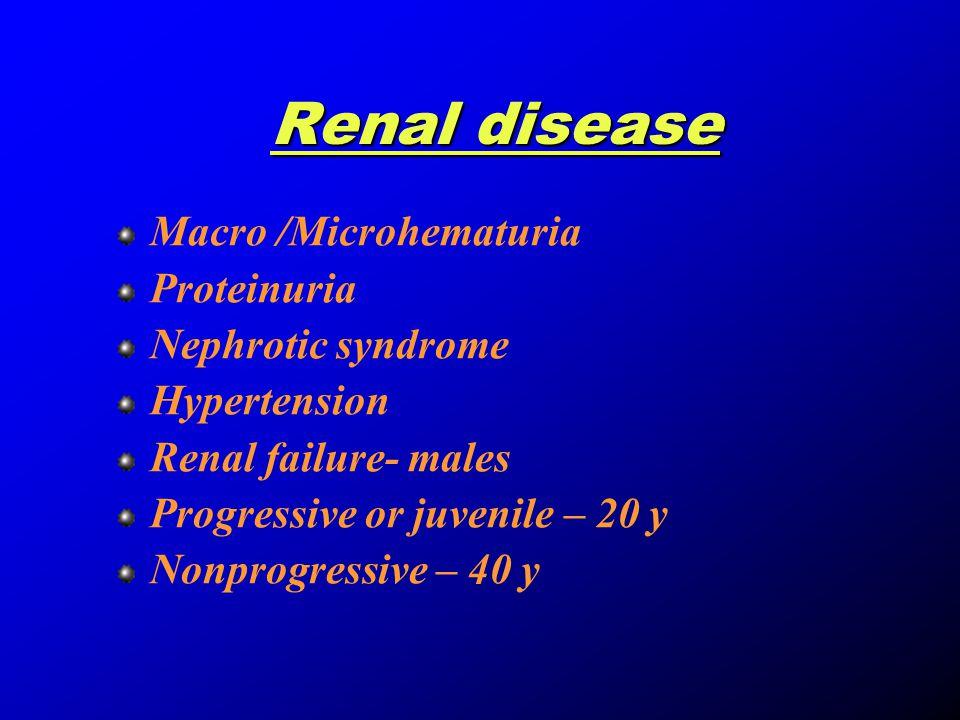 Hearing defects Sensorineural bilateral Never congenital Boys- 85%.