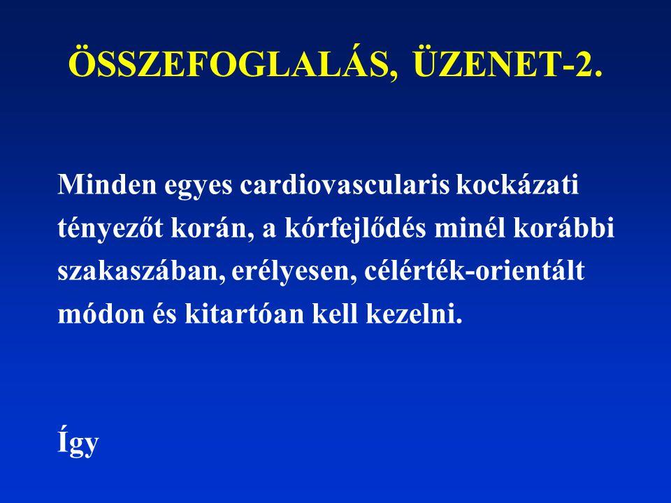 ÖSSZEFOGLALÁS, ÜZENET-2. Minden egyes cardiovascularis kockázati tényezőt korán, a kórfejlődés minél korábbi szakaszában, erélyesen, célérték-orientál