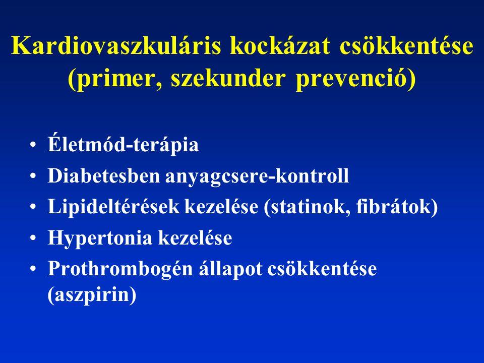 Kardiovaszkuláris kockázat csökkentése (primer, szekunder prevenció) Életmód-terápia Diabetesben anyagcsere-kontroll Lipideltérések kezelése (statinok