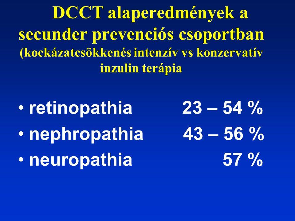 DCCT alaperedmények a secunder prevenciós csoportban (kockázatcsökkenés intenzív vs konzervatív inzulin terápia retinopathia 23 – 54 % nephropathia 43