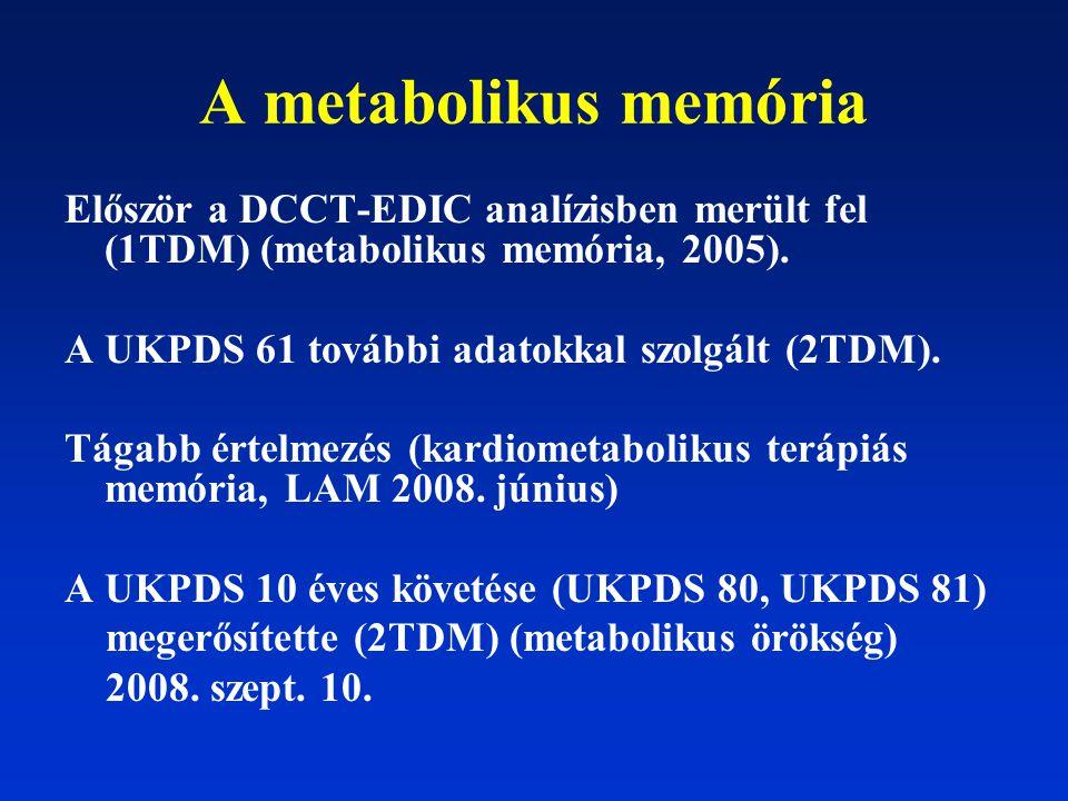 A metabolikus memória Először a DCCT-EDIC analízisben merült fel (1TDM) (metabolikus memória, 2005). A UKPDS 61 további adatokkal szolgált (2TDM). Tág