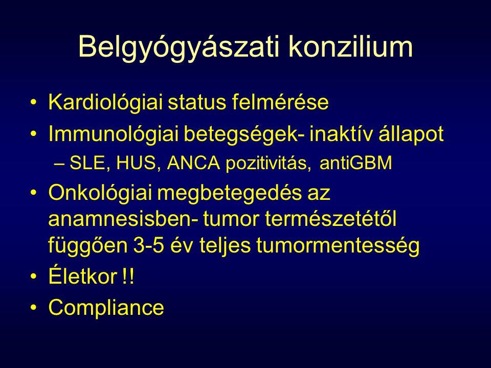 Belgyógyászati konzilium Kardiológiai status felmérése Immunológiai betegségek- inaktív állapot –SLE, HUS, ANCA pozitivitás, antiGBM Onkológiai megbetegedés az anamnesisben- tumor természetétől függően 3-5 év teljes tumormentesség Életkor !.