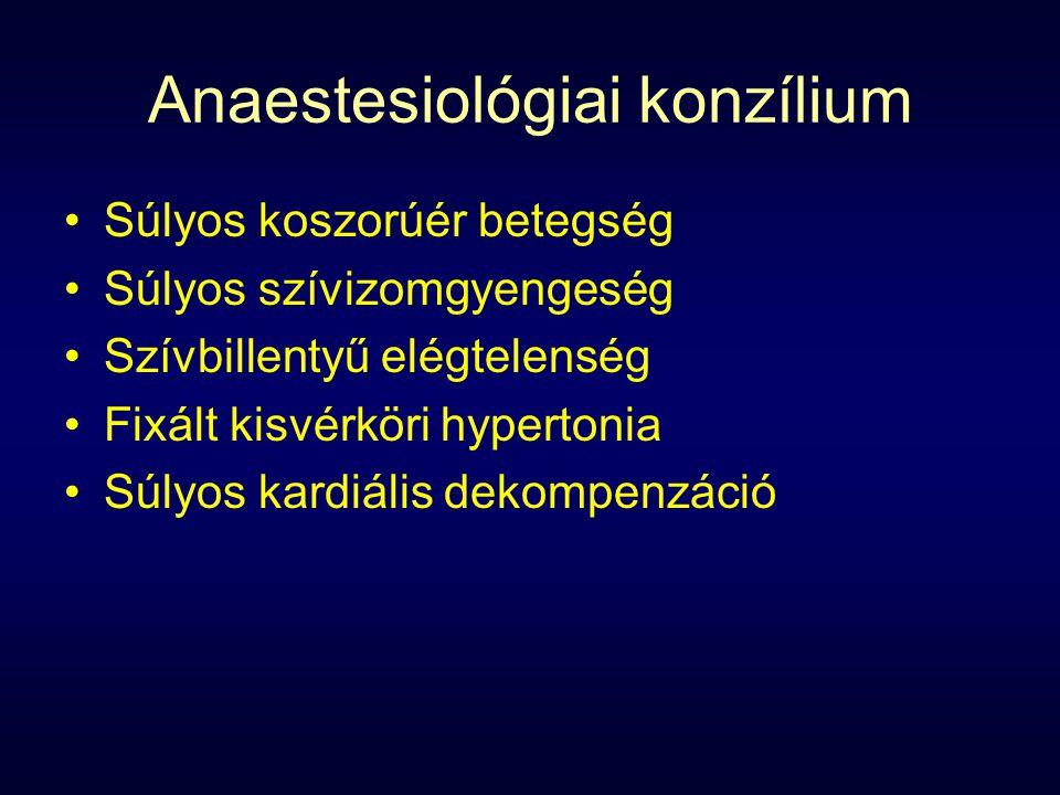 Anaestesiológiai konzílium Súlyos koszorúér betegség Súlyos szívizomgyengeség Szívbillentyű elégtelenség Fixált kisvérköri hypertonia Súlyos kardiális dekompenzáció