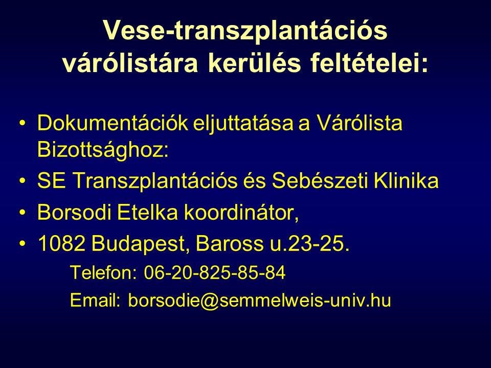 Vese-transzplantációs várólistára kerülés feltételei: Dokumentációk eljuttatása a Várólista Bizottsághoz: SE Transzplantációs és Sebészeti Klinika Borsodi Etelka koordinátor, 1082 Budapest, Baross u.23-25.