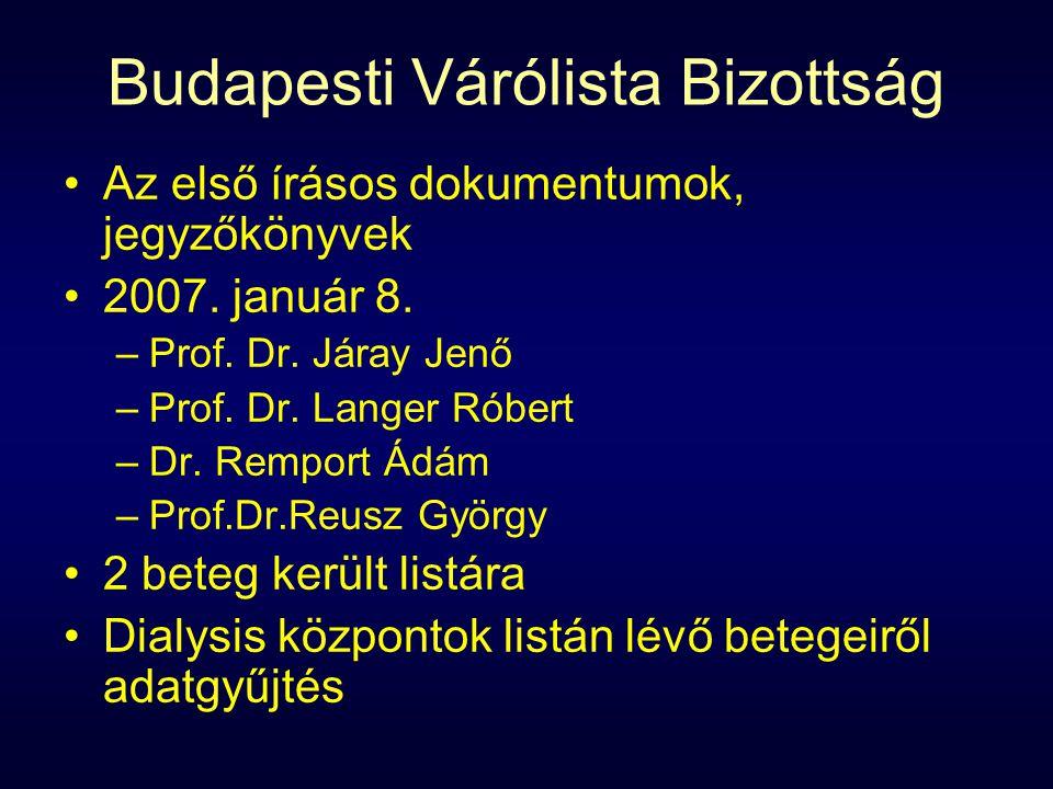 Budapesti Várólista Bizottság Az első írásos dokumentumok, jegyzőkönyvek 2007.