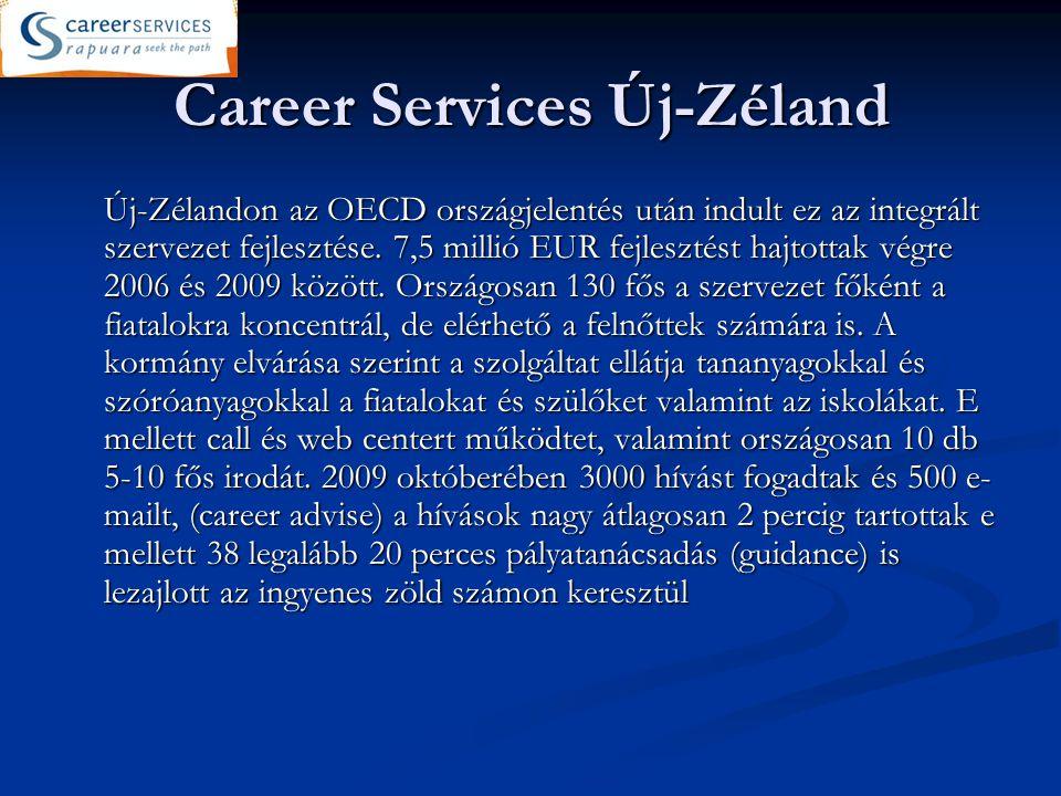 Career Services Új-Zéland Új-Zélandon az OECD országjelentés után indult ez az integrált szervezet fejlesztése.