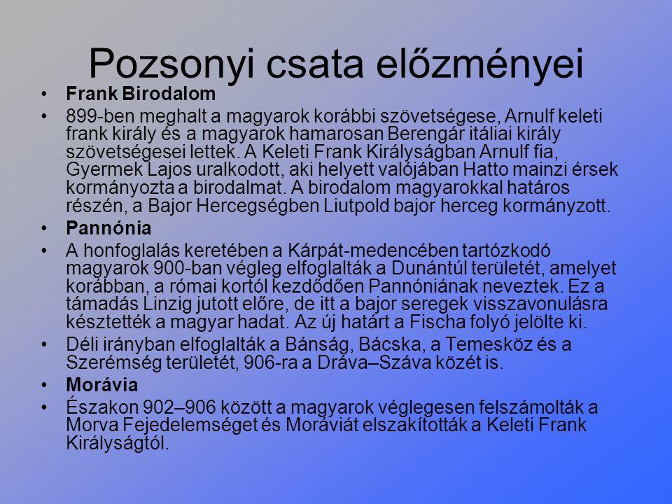 Pozsonyi csata előzményei Frank Birodalom 899-ben meghalt a magyarok korábbi szövetségese, Arnulf keleti frank király és a magyarok hamarosan Berengár