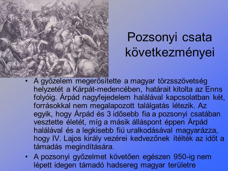 Pozsonyi csata következményei A győzelem megerősítette a magyar törzsszövetség helyzetét a Kárpát-medencében, határait kitolta az Enns folyóig. Árpád