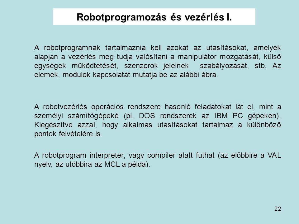 22 Robotprogramozás és vezérlés I. A robotprogramnak tartalmaznia kell azokat az utasításokat, amelyek alapján a vezérlés meg tudja valósítani a manip