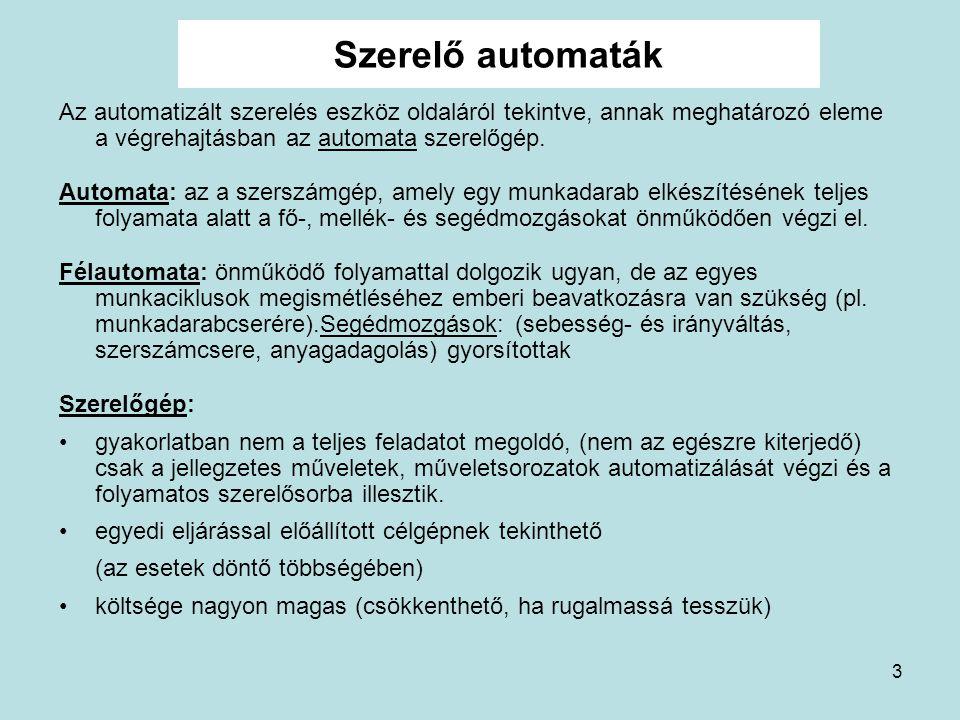 3 Szerelő automaták Az automatizált szerelés eszköz oldaláról tekintve, annak meghatározó eleme a végrehajtásban az automata szerelőgép. Automata: az