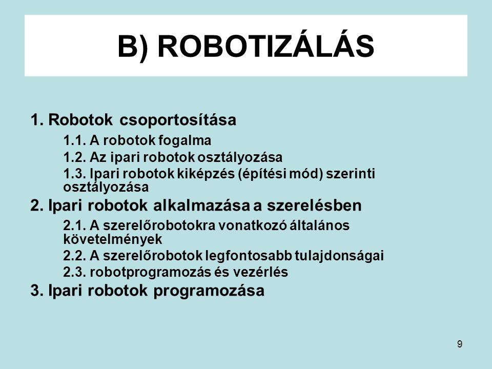 9 B) ROBOTIZÁLÁS 1. Robotok csoportosítása 1.1. A robotok fogalma 1.2. Az ipari robotok osztályozása 1.3. Ipari robotok kiképzés (építési mód) szerint