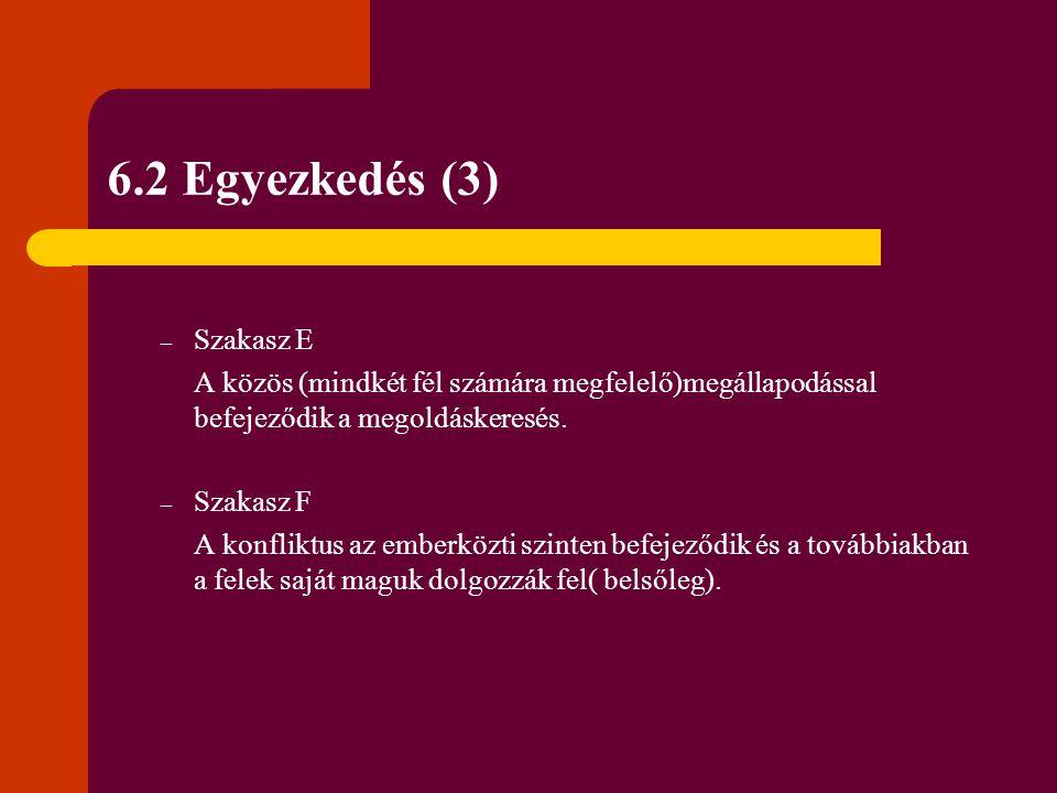 6.2 Egyezkedés (3) – Szakasz E A közös (mindkét fél számára megfelelő)megállapodással befejeződik a megoldáskeresés. – Szakasz F A konfliktus az ember