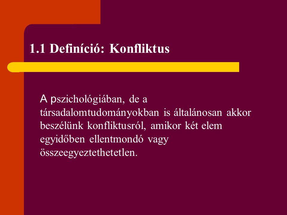 1.1 Definíció: Konfliktus A p szichológiában, de a társadalomtudományokban is általánosan akkor beszélünk konfliktusról, amikor két elem egyidőben ell