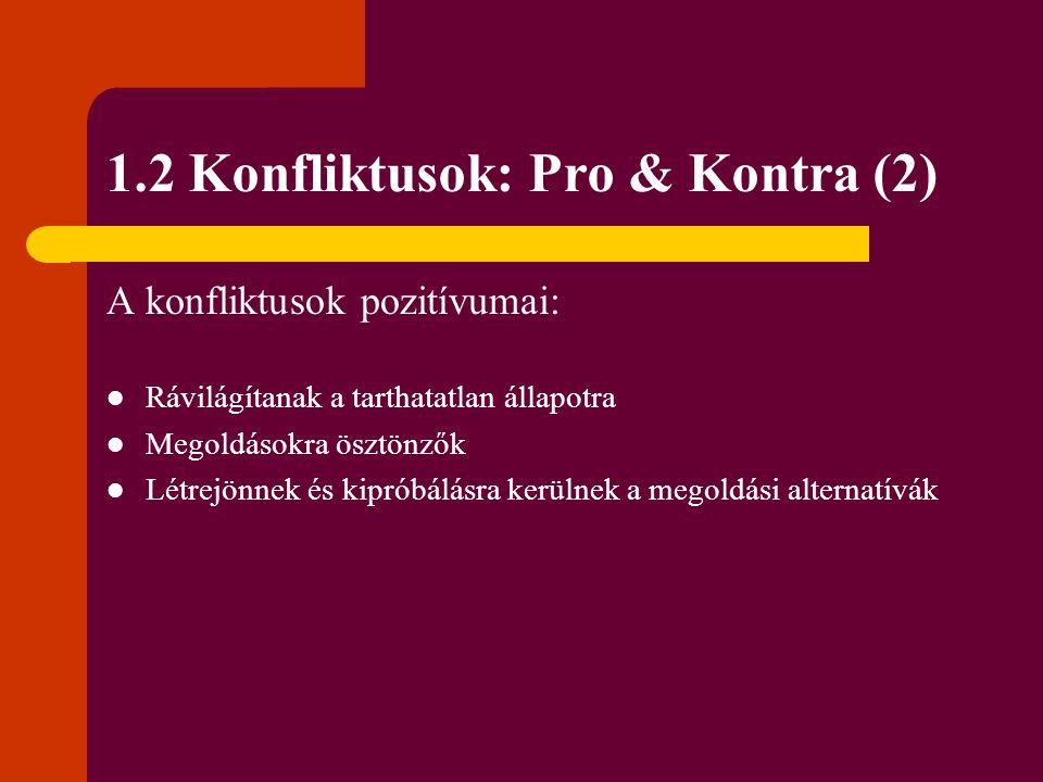 1.2 Konfliktusok: Pro & Kontra (2) A konfliktusok pozitívumai: Rávilágítanak a tarthatatlan állapotra Megoldásokra ösztönzők Létrejönnek és kipróbálás