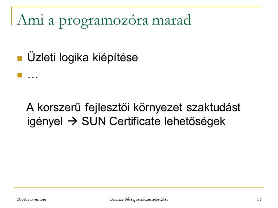2008. november Bodnár Péter, rendszerfejlesztés 11 Ami a programozóra marad Üzleti logika kiépítése … A korszerű fejlesztői környezet szaktudást igény