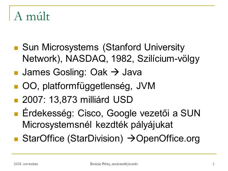2008. november Bodnár Péter, rendszerfejlesztés 2 A múlt Sun Microsystems (Stanford University Network), NASDAQ, 1982, Szilícium-völgy James Gosling: