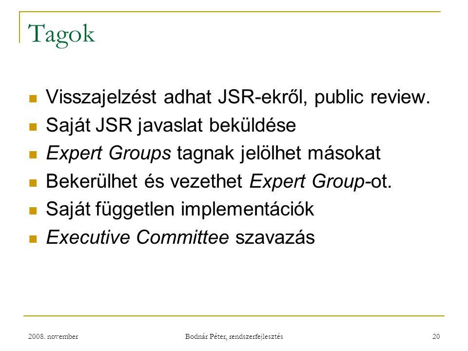 2008. november Bodnár Péter, rendszerfejlesztés 20 Tagok Visszajelzést adhat JSR-ekről, public review. Saját JSR javaslat beküldése Expert Groups tagn